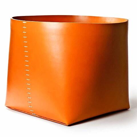 Papierkorb Leder H30+D38 cm, orange