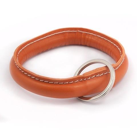 Schlüsselring Leder orange