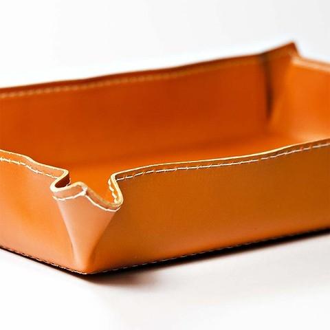 Accessoiretray Leder 32x24,5 / innen: 23,5x15cm, orange