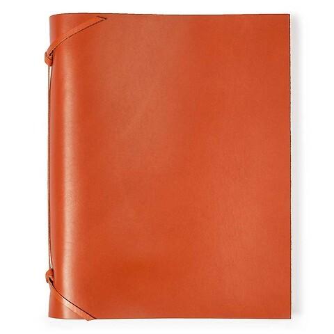 Fotoalbum Leder 30x23cm orange, 30 Blatt