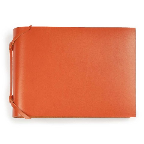 Fotoalbum Leder 20,5x15 cm orange, 30 Blatt