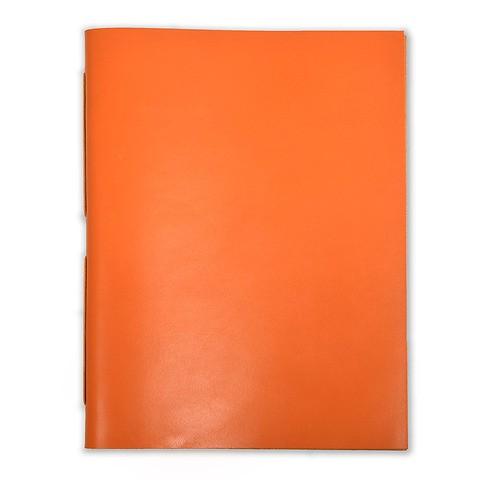 Gästebuch Leder 28x38 cm orange, 48 Blatt Bütten