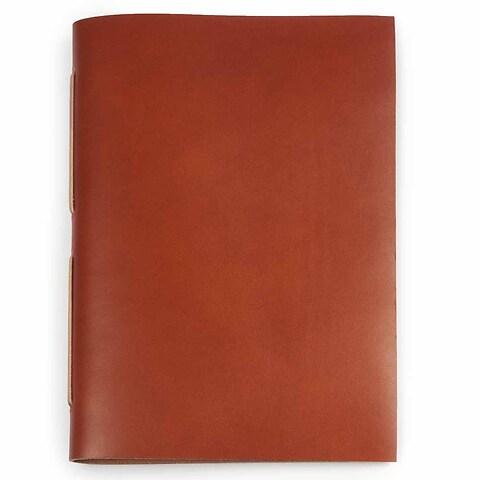 Gästebuch Leder 24x17 cm tan, 22 Blatt