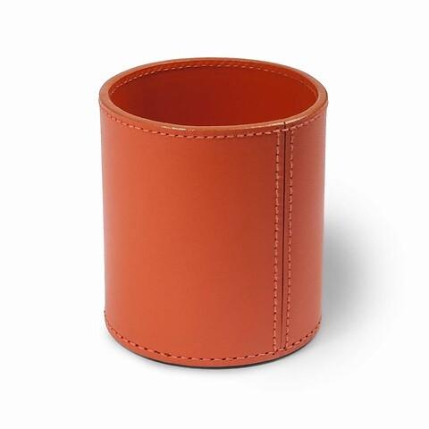 Stiftebecher Leder 9x9,5 cm orange