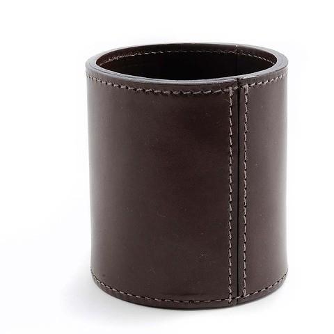 Stiftebecher Leder 9x9,5 cm dunkelbraun