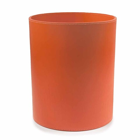 Papierkorb Leder rund 30x24 cm orange