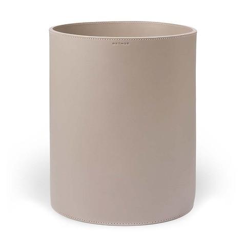 Papierkorb Leder rund 30x24 cm taupe