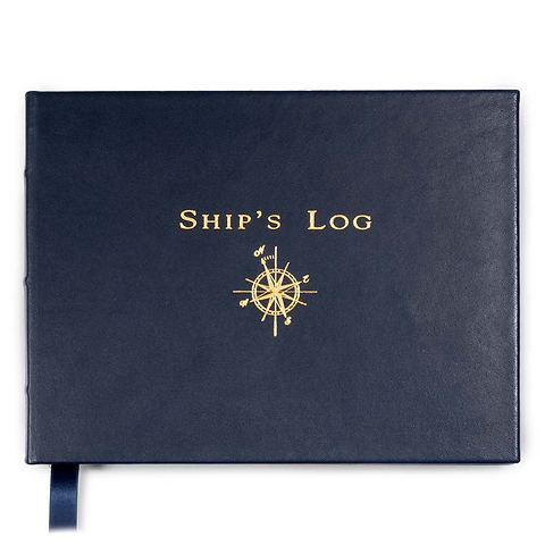 Logbuch Ship's Log Book Leder blau Goldschnitt