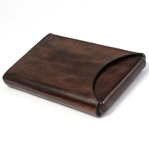 Visitenkartenbox Leder havanna 10x6 cm