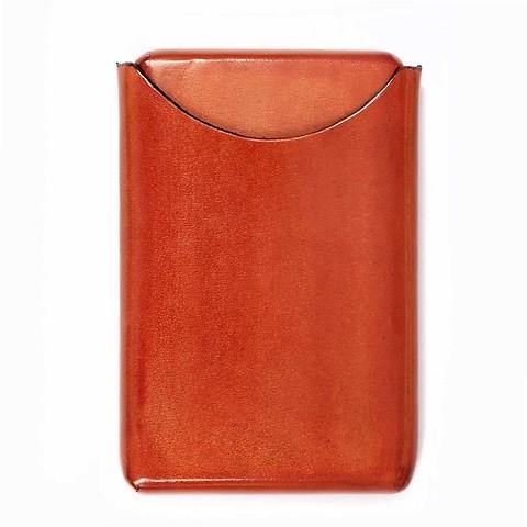 Visitenkartenbox Leder orange  10 x 6 cm