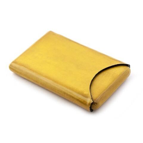 Visitenkartenbox Leder gelb 10 x 6 cm