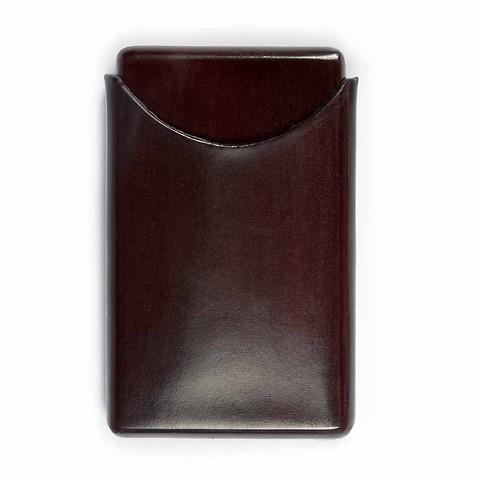 Visitenkartenbox Leder d-braun 10x6 cm
