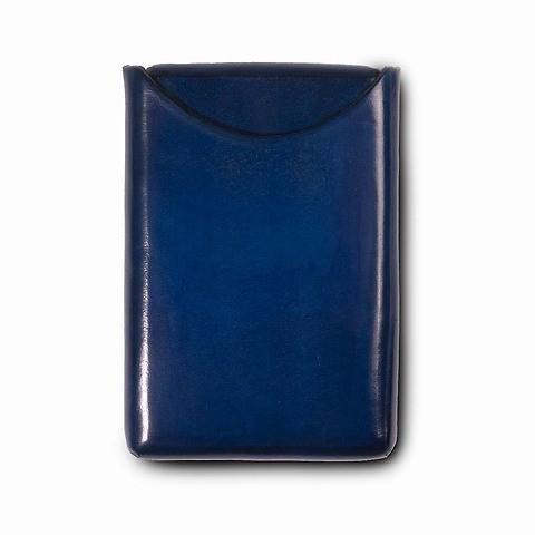 Visitenkartenbox Leder d-blau  10x6 cm