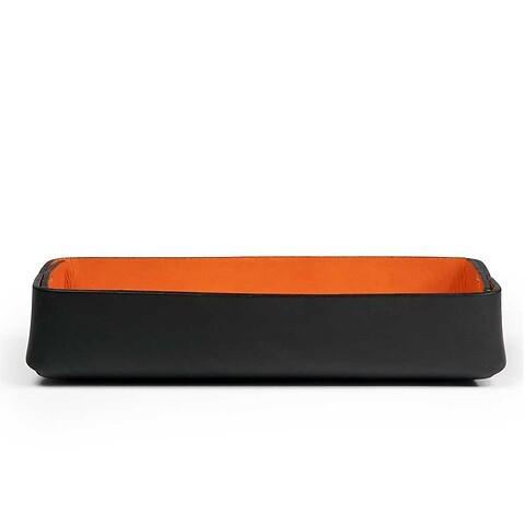 Stifteablagekasten Leder Stitch schmal schwarz/orange