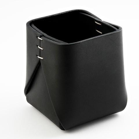 Stiftebecher Leder quadratisch 8x8x11 cm schwarz schwarz