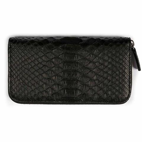 Purse Leder Python 19x10 cm schwarz