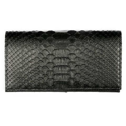 Portemonnaie Purse Double Leder Python 19x10 cm schwarz