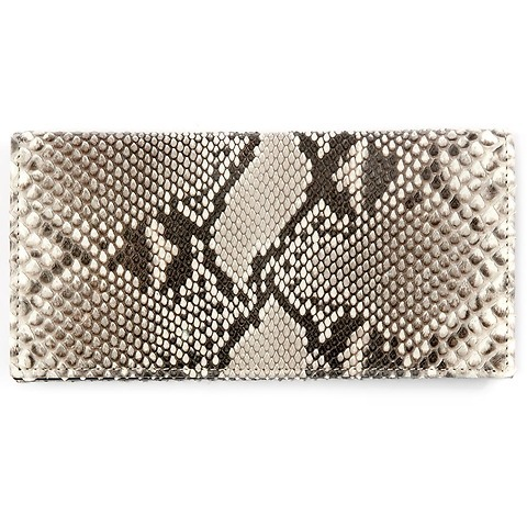 Portemonnaie Purse Double Leder Python 19x10 cm schwarzweiß