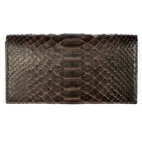 Portemonnaie Purse Double Leder Python 19x10 cm dunkelbraun