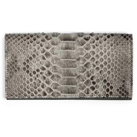 Portemonnaie Purse Double Leder Python 19x10 cm grau