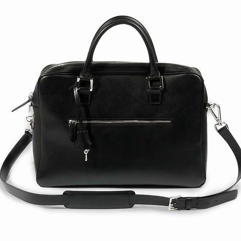 Akten-/Laptoptasche Leder Saffian schwarz