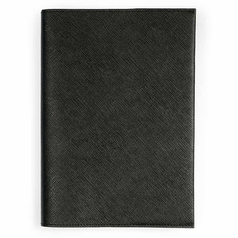 Buchhülle Leder Saffian schwarz für DIN A5 Bücher