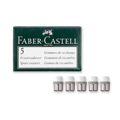 Set = 5 Stk. Ersatzradierer weiss/silber
