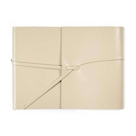 Fotoalbum Leder mit Band 20,5x15cm cream, 25 Blatt