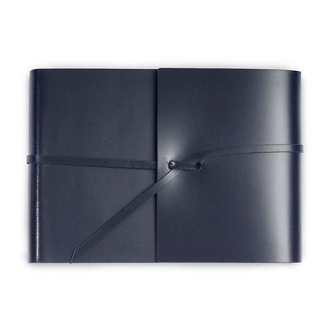 Fotoalbum Leder mit Band 20,5x15 cm dunkelblau, 25 Blatt