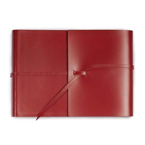 Fotoalbum Leder mit Band 20,5x15 cm rot, 25 Blatt