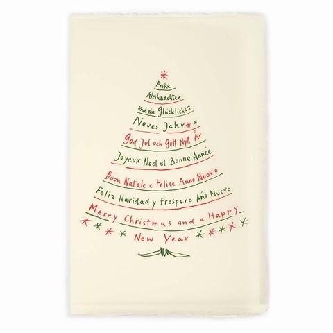Weihnachtskarte Textbaum grün/rot Büttengruß Diplomat