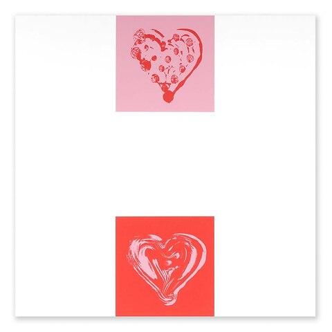 Grußkarte Double Heart pink/rosa quadratisch smooth white