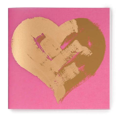 Grußkarte Barbie Heart gold auf rosa quadratisch