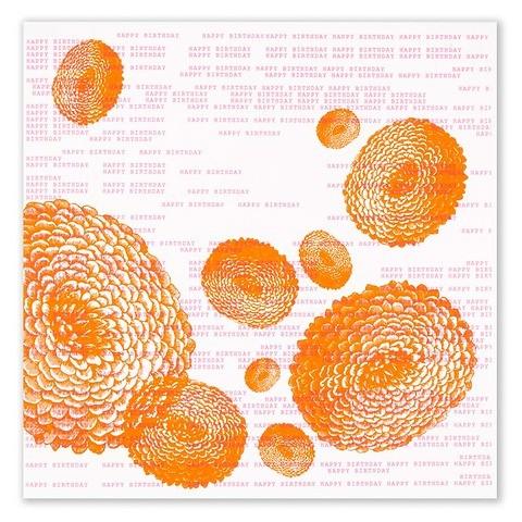 Grußkarte Geburtstag Dahlie orange quadratisch