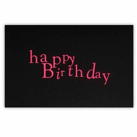 Grußkarte Geburtstag Mrs. Eaves neonpink auf schwarz