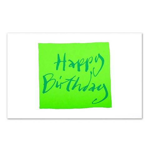Grußkarte Geburtstag 'Happy Birthday' Kalligraphie grün Dipl