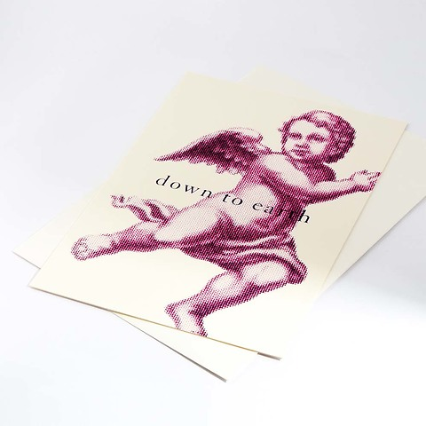 Weihnachtskarte Down to earth A4 ivory neonpink