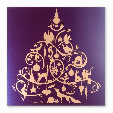 Weihnachtskarte Fairy Tale quadratisch 21x21 dunkelviolett
