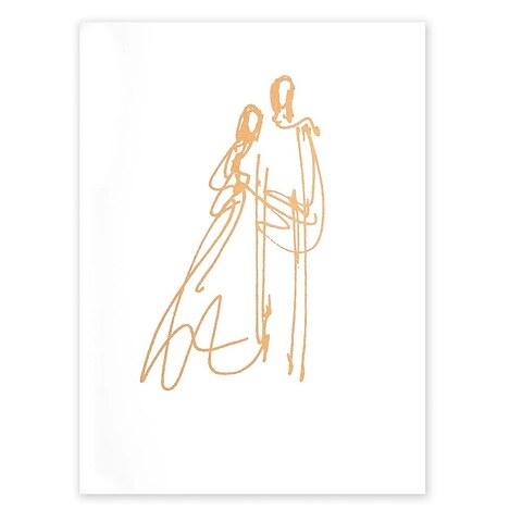 Grußkarte Hochzeit Mariage A5smooth white gold