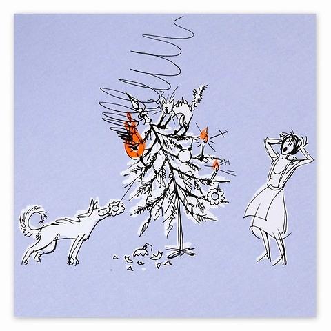 Weihnachtskarte Christmas Disaster quadratisch flieder