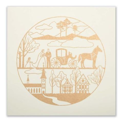 Grußkarte Die Hochzeitskutsche gold/ivory quadratisch