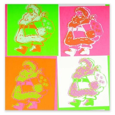 Weihnachtskarte Little Santa Pop Art Neon quadratisch 21x21