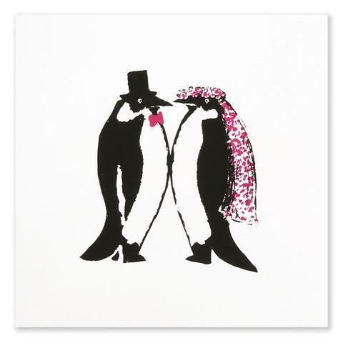 Grußkarte Hochzeits-Pinguine quadratisch