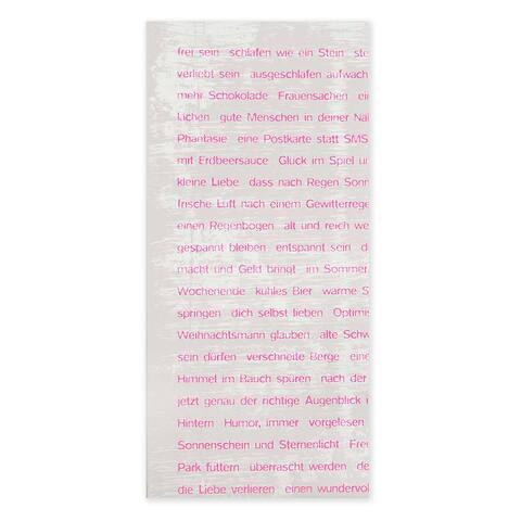 Grußkarte Wishes neonpink 50x61 cm