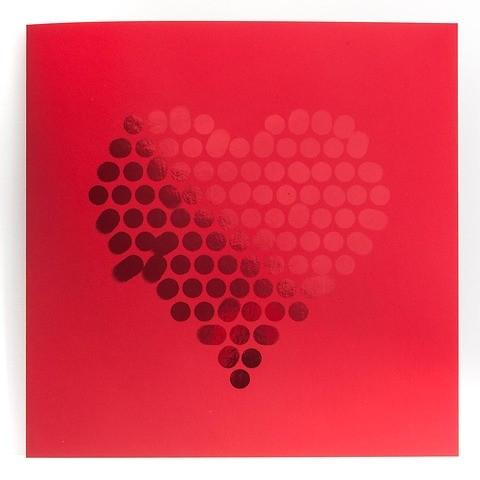 Grußkarte Herz Points Pure Samt rot quadratisch