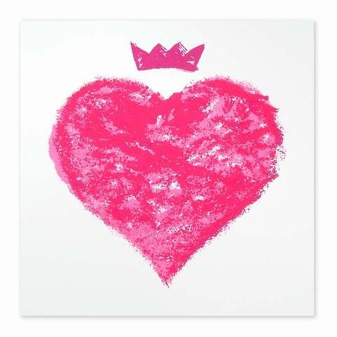 Grußkarte Queen of Hearts neonpink 21x21