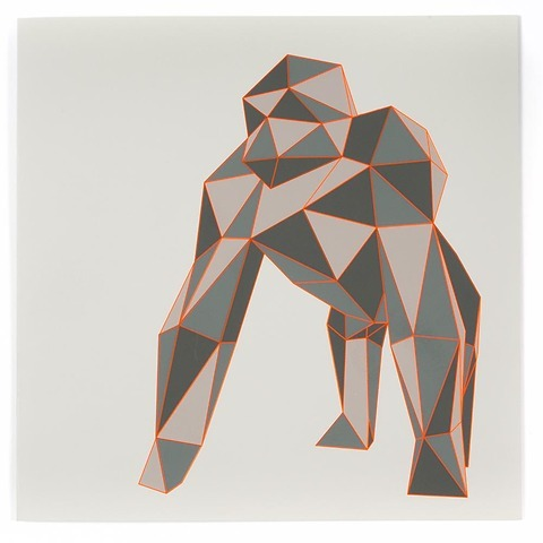 Grußkarte Gorilla Polygon quadratisch