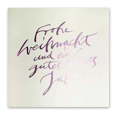 Weihnachtskarte Kalligraphie Pure Samt silber 'Frohe ....'