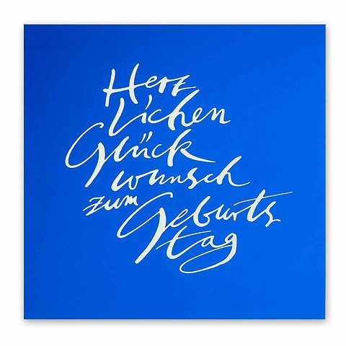 Grußkarte Geburtstag Kallig Pure Samt blau Glückwunsch quadr