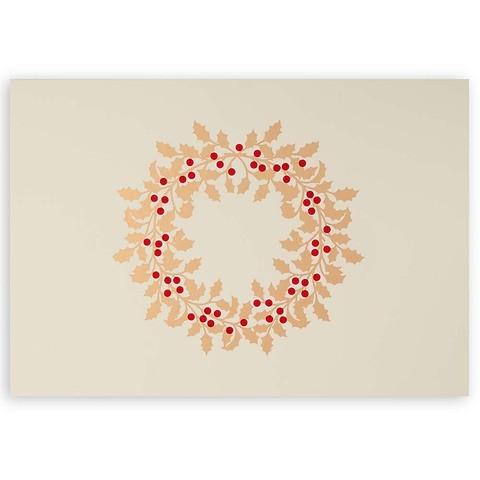 Weihnachtskarte Ilexkranz Pure sand Diplomat
